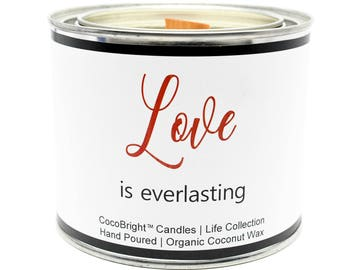 CocoBright™ Organic Coconut Wax Paint Can Candle | Crackling Wooden Wick | Love Is Everlasting Sentiment | Love Spell Scented - 16 ounces