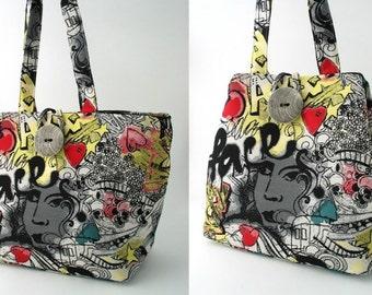 large handbag, black purse, tote bag convert to hobo, art purse, colorful bag, diaper bag, graffiti bag, black shoulder bag