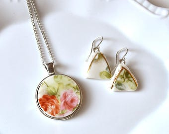 Broken China Jewelry Pendant and Earring Set- Pink and Red Floral