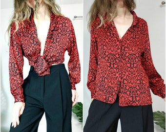 Vintage 80s Blouse Silk Opulent Floral Button Down Perfect for Print Mixing