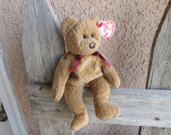 Ty Beanie Babies Curly Bear Black Eyes Brown Nose Retired Mint Condition