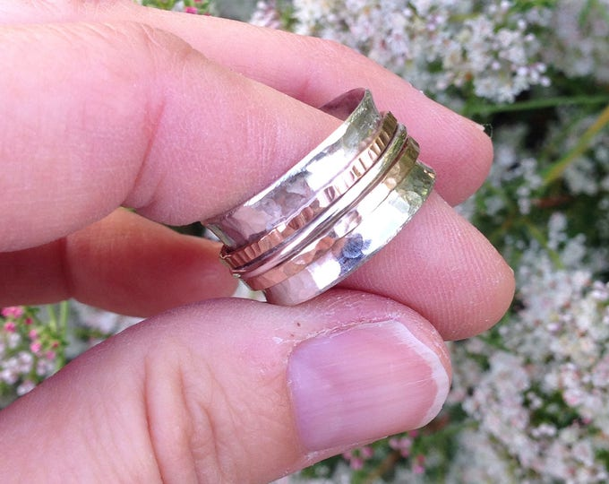 Spinner ring with three bands, rose gold and gold fill, sterling silver made to order handmade
