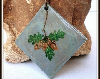 Summer Acorns and Oak Leaf Pendant, Acorn Necklace, Oak Leaf Necklace, Hand Painted Pendant, Caged Blue and Brown Painted Wood Beads,
