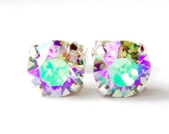 Paradise shine rhinestone stud earrings / 8mm / Swarovski / rainbow earrings / gift for her / bridesmaid earrings / green / purple / pink