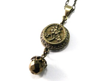 Antique Button Necklace - Victorian Button Jewelry - Golden Daisy