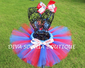 Cat in the Hat Tutu with Headband - Birthday Tutu - Red and Blue Tutu