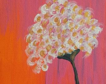 Curly Blond Flower - Original Folk Art - 5x7 Canvas Panel