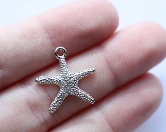 4 Silver Starfish Charms CLEARANCE - 7