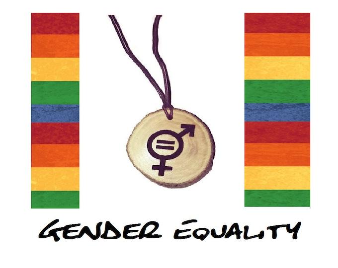 Gender Equality Symbol  Handmade Wooden Engraved Necklace Pendant Charm or Keyring  #GenderEquality