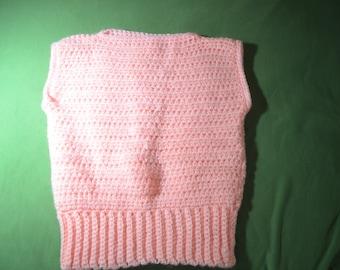 ON SALE  Vintage Handmade Pink /Peach Crochet Sweater