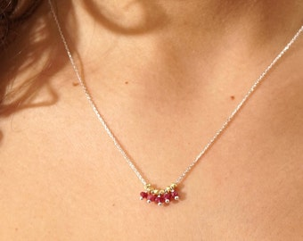 Ruby Necklace Genuine Ruby Chocker Silver 925 Necklace Necklace Dainty Ruby Necklace Chocker Necklace- Chain Necklace - July Birthstone