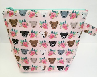 Knitting Bag, Dog Project Bag, Knitting Project Bag, Large Project Bag, Project Bag for Knitting, Crochet Project Bag, Travel Pouch