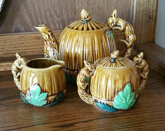 Vintage Ceramic Teapot Set With Squirrel And Acorn Design, Whimsical Teapot, Creamer, and Sugar Bowl