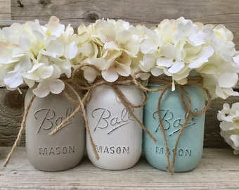 Painted Mason Jars-Rustic Mason Jar Decor-Vintage Farmhouse Home Decor-Grey-White-Rustic Home Decor-Country Chic Home Decor-Shabby Chic Home