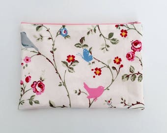 Waterproof iPad Case / Tablet Case/ iPad Cover - Made from Oilcloth With Birds, Butterflies, Flowers - Can be customised to fit any tablet