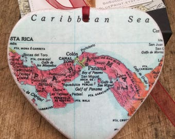 Panama Christmas Ornament, Your Special Place in the Heart / HONEYMOON Gift / Wedding Map Gift / Travel Tree Ornament /Secret Sister
