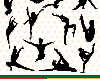 Gymnastics women silhouettes sale, eps, svg, png and jpg files high resolution CL-SP-027