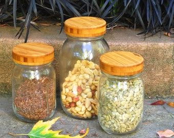 3 Bamboo Mason Jar Lids with Seal -  Regular Mouth  - True screw top.