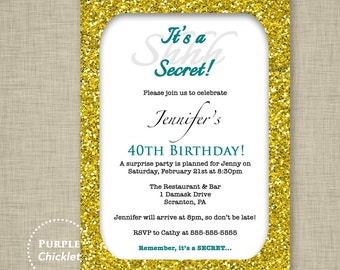 30th 40th 50th Birthday Invitation Gold Glitter Glam Surprise Party Teal Printable cocktail Dinner Party Adult Party Invite (236)