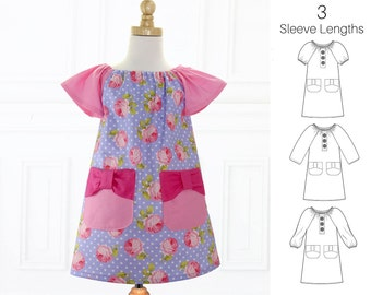 Dress Pattern for Girls PDF, Girls Dress Pattern, Peasant Dress pattern, Girls Sewing Pattern, Easy Sewing Pattern, Beginner Pattern, POPPY