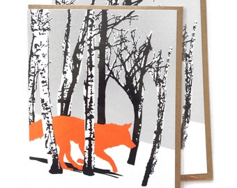 Box of 6 A2 size Running Fox Wolf Greeting Cards, blank inside, rad original winter woodland design, recycled paper, made in Portland Oreogn