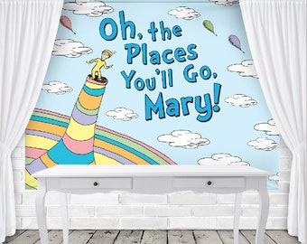 Dr Seuss Birthday Backdrop Oh the Places - Personalized - 8' x 6' Vinyl Banner