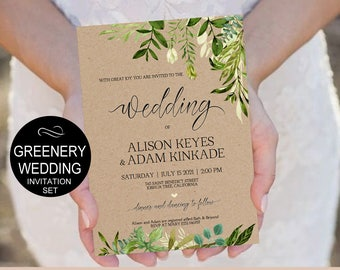Rustic Wedding Invitation Template-Greenery Watercolor Wedding -Kraft Wedding Invitation-DIY Editable PDF-Download Instantly| VRD150KAF