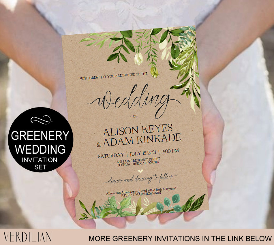 Homemade Wedding Invitation Template: Rustic Wedding Invitation Template-Greenery Watercolor Wedding