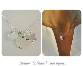 Necklace Trio of love in silver or plated gold