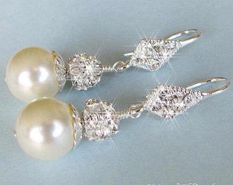 Pearl cubic Zirconia Bridal Earrings, Prom CZ Wedding Earrings, Pearl Rhinestone Bride Earrings, Wedding Jewelry, White, Ivory Pearl, Silver