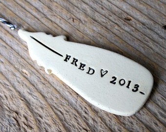 Personalized Feather Pottery Ornament (Short)