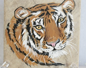 Painting on a tile-Tiger