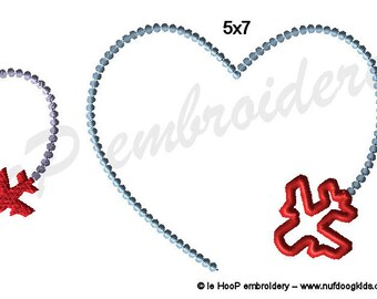 Valentine Plane Heart Trail Machine Embroidery Applique Design 4x4 5x7