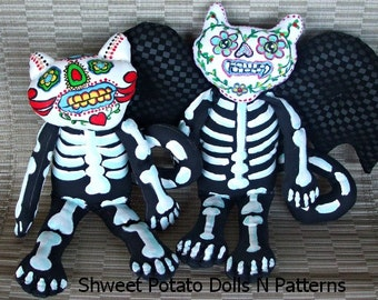 Day of the Dead Vampire Bat Cat Art Doll e Pattern Día de Muertos