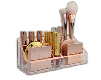 Rose Gold Acrylic Makeup Organizer Makeup of the Day Tray by Sonny Cosmetics