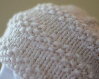 Textured Stripes Winter White Hat