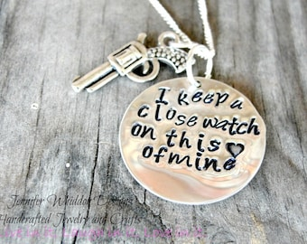 I Keep A Close Watch on This Heart Of Mine - Walk The Line - Johnny Cash Necklace - Hand Stemped Necklace