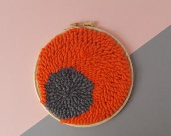 Yarn wall hanging hoop punch needle embroidery
