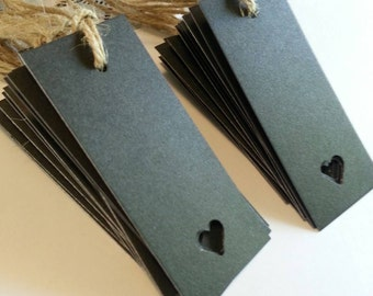 Black gift tags, Black heart tags, Heart tags, Wedding tags, Favor Tags, Black tags, Gift tags, Set of 25 or 100