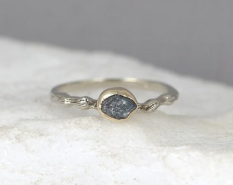 Blue Rough Uncut Diamond Twig Engagement Ring  14K White Gold Branch Rings - Raw Diamond Rings - Tree Branch Wedding Ring - Made in Canada