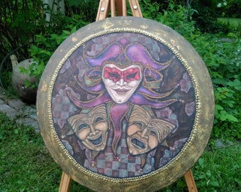 Jester Painting - Painting On Canvas - Round Painting - Acrylic Painting - Harlequin - Painting - Fantasy Painting - Drama - Comedy - Art