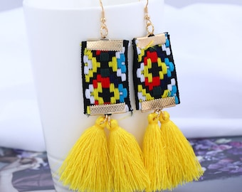 Embroidered Tassel Dangle Earrings