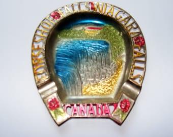 Vintage Horseshoe Falls Niagara Falls Canada Aluminum Souvenir Ashtray