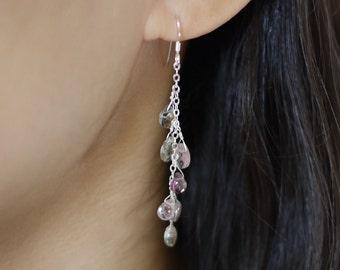 Multi-colored garnet cascade earrings on sterling silver chain