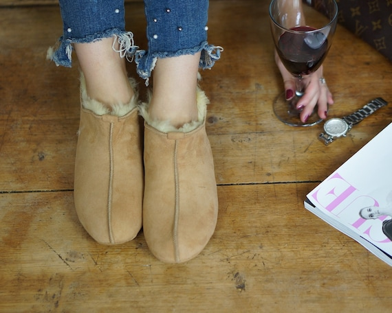 SALE Sheepskin and Women boots Slippers Good Natural Leather comfy Genuine light ON gift Very Shearling shoes UPdCxqUw