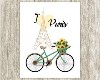 Paris Printable, Eiffel Tower Print, I Love Paris Wall Art, Paris Sign, Paris Poster, Bicycle French Quote Print 8x10 Instant Download