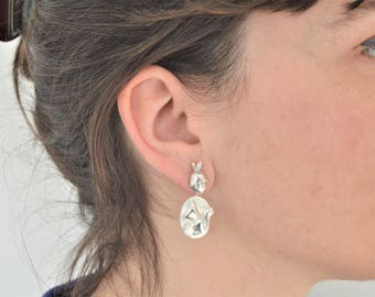 Interchangeable hazelnut and squirrel earrings in silver/Interchangeable ear during Hazelnut and Squirrel in silver