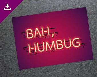 Bah Humbug, Inappropriate Christmas Card, Ebinizer Scrooge, A Christmas Carol, Offensive Christmas Rude Card, Christmas Neon Sign Typography
