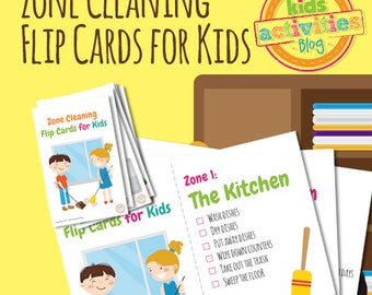 Zone Cleaning Chore Chart Flip Cards for Kids