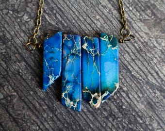 Stunning Sapphire Blue Imperial Jasper Necklace, Sediment Jasper, Bohemian Necklace, Jasper Sticks, Birthday Gift